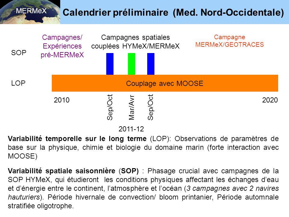 MERMeX Couplage avec MOOSE LOP 2010 Sep/Oct Mar/Avr 2020 SOP Variabilité spatiale saisonnière (SOP) : Phasage crucial avec campagnes de la SOP HYMeX, qui étudieront les conditions physiques affectant les échanges deau et dénergie entre le continent, latmosphère et locéan (3 campagnes avec 2 navires hauturiers).