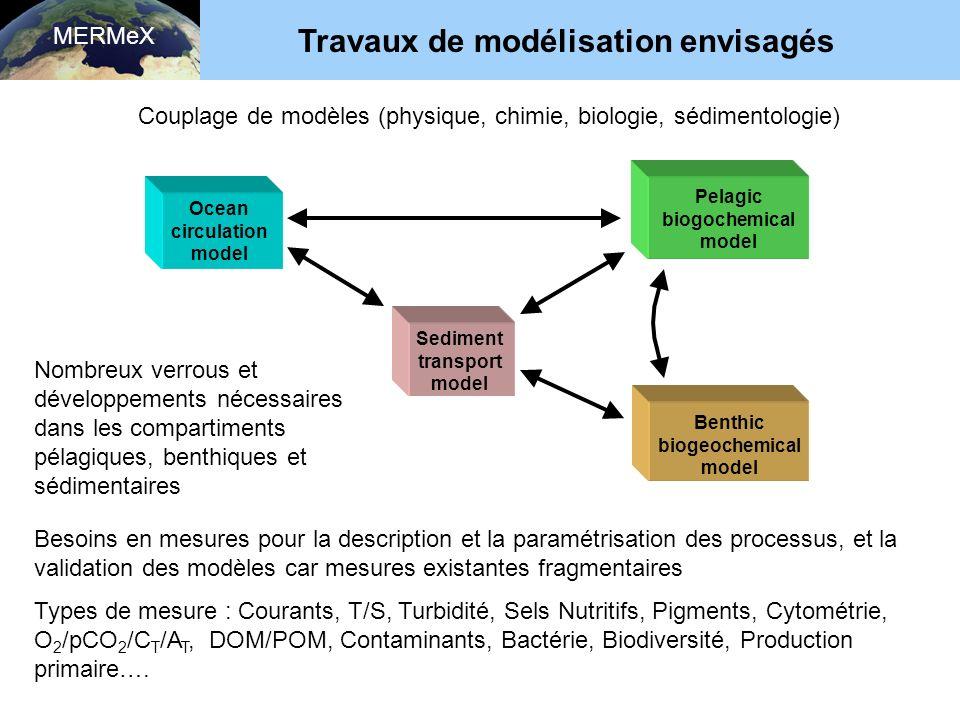 MERMeX Travaux de modélisation envisagés Ocean circulation model Sediment transport model Benthic biogeochemical model Pelagic biogochemical model Couplage de modèles (physique, chimie, biologie, sédimentologie) Besoins en mesures pour la description et la paramétrisation des processus, et la validation des modèles car mesures existantes fragmentaires Types de mesure : Courants, T/S, Turbidité, Sels Nutritifs, Pigments, Cytométrie, O 2 /pCO 2 /C T /A T, DOM/POM, Contaminants, Bactérie, Biodiversité, Production primaire….