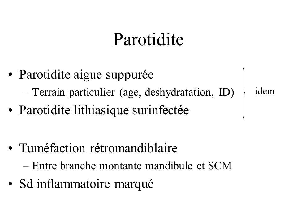 Parotidite Parotidite aigue suppurée –Terrain particulier (age, deshydratation, ID) Parotidite lithiasique surinfectée Tuméfaction rétromandiblaire –E
