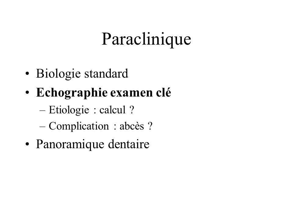 Paraclinique Biologie standard Echographie examen clé –Etiologie : calcul ? –Complication : abcès ? Panoramique dentaire