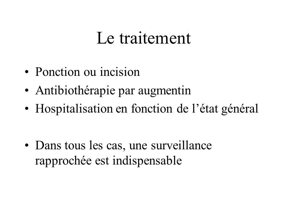 Le traitement Ponction ou incision Antibiothérapie par augmentin Hospitalisation en fonction de létat général Dans tous les cas, une surveillance rapp