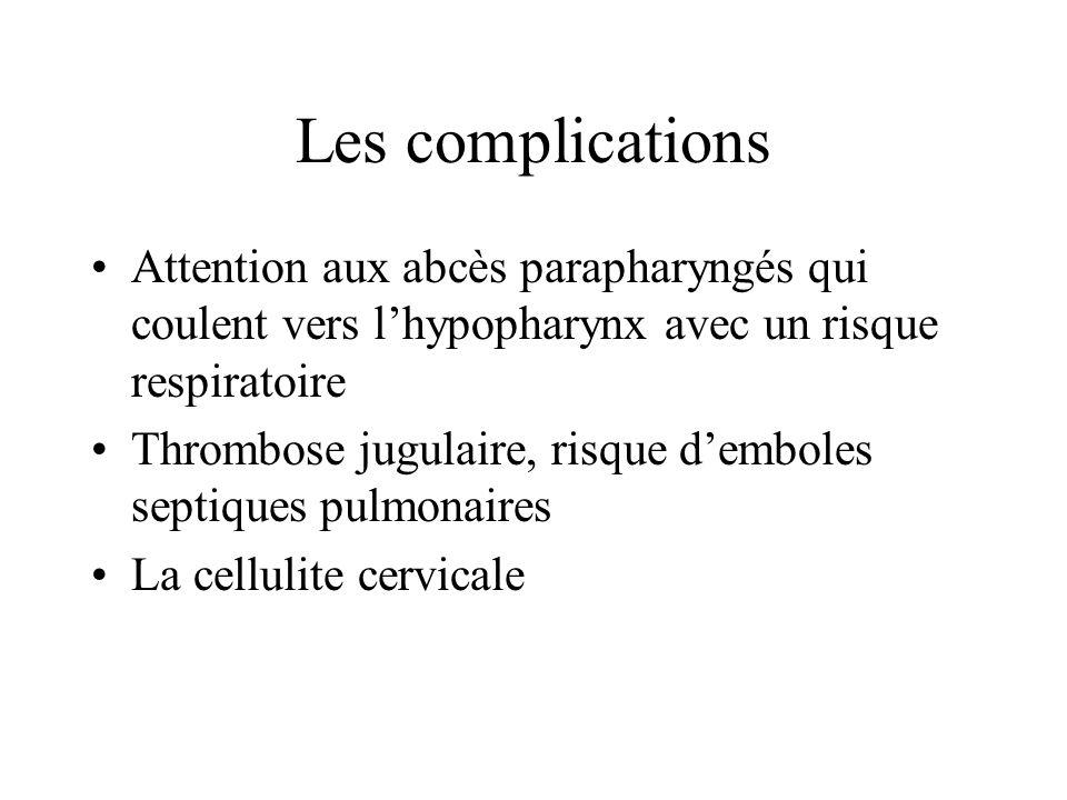 Les complications Attention aux abcès parapharyngés qui coulent vers lhypopharynx avec un risque respiratoire Thrombose jugulaire, risque demboles sep