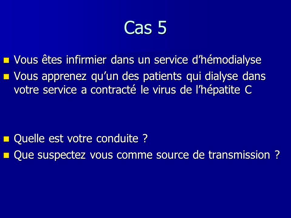 Cas 5 Vous êtes infirmier dans un service dhémodialyse Vous êtes infirmier dans un service dhémodialyse Vous apprenez quun des patients qui dialyse da