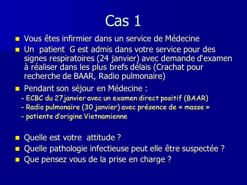 Cas 1 Vous êtes infirmier dans un service de Médecine Vous êtes infirmier dans un service de Médecine Un patient G est admis dans votre service pour d