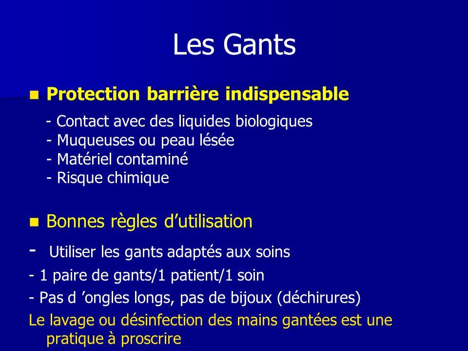 Les Gants Protection barrière indispensable - Contact avec des liquides biologiques - Muqueuses ou peau lésée - Matériel contaminé - Risque chimique B
