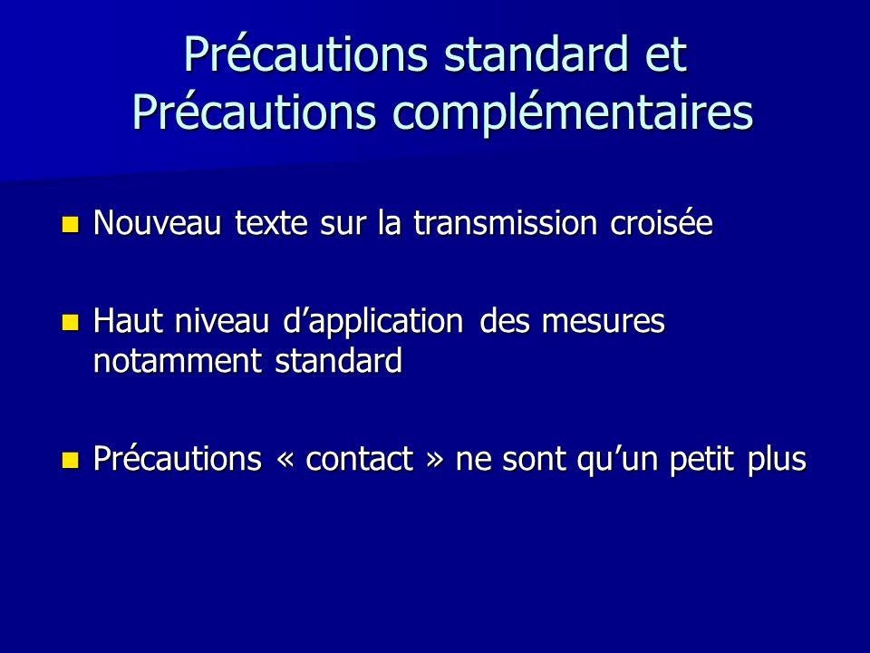 Précautions standard et Précautions complémentaires Nouveau texte sur la transmission croisée Nouveau texte sur la transmission croisée Haut niveau da