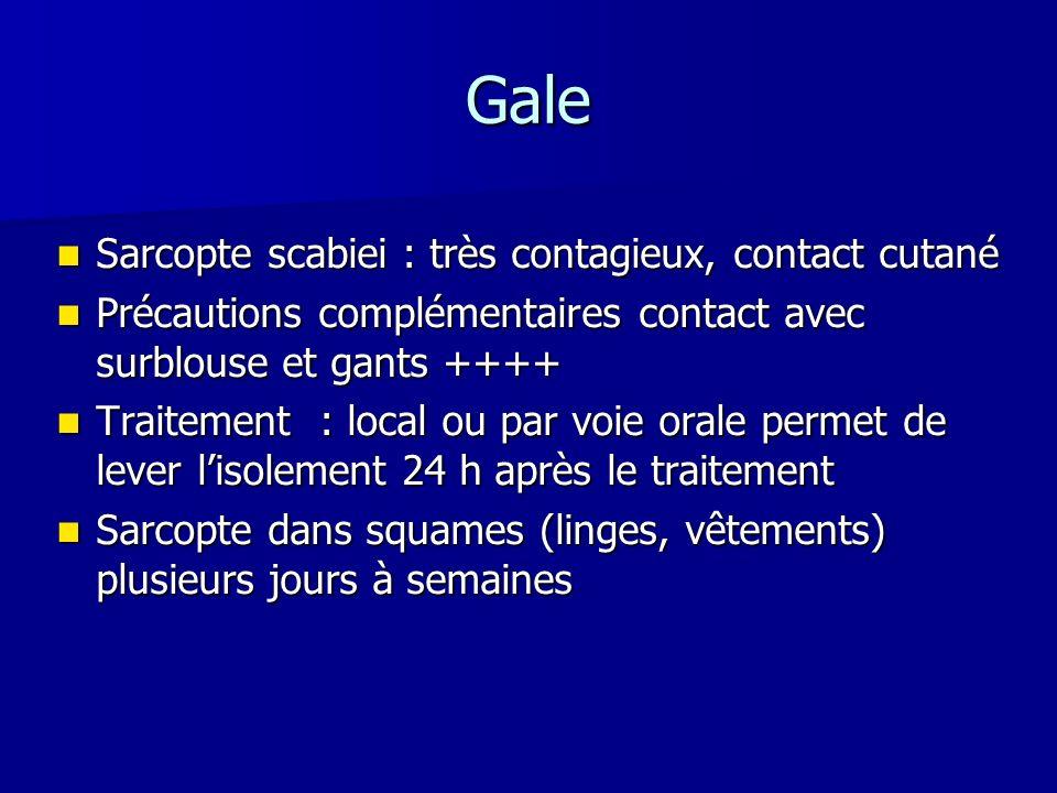 Gale Sarcopte scabiei : très contagieux, contact cutané Sarcopte scabiei : très contagieux, contact cutané Précautions complémentaires contact avec su