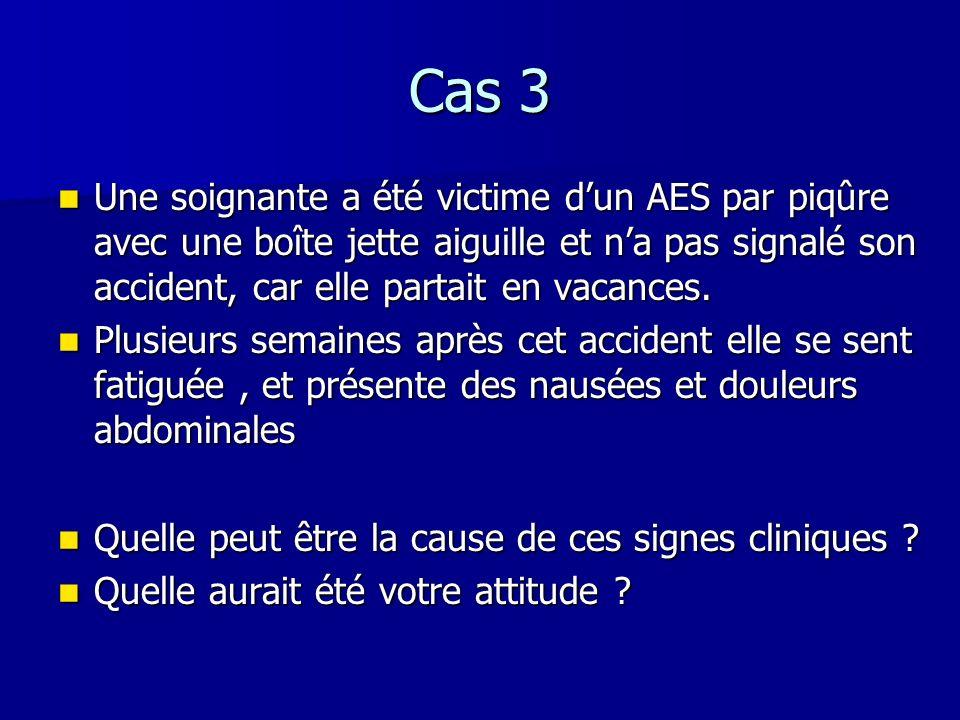 Cas 3 Une soignante a été victime dun AES par piqûre avec une boîte jette aiguille et na pas signalé son accident, car elle partait en vacances. Une s