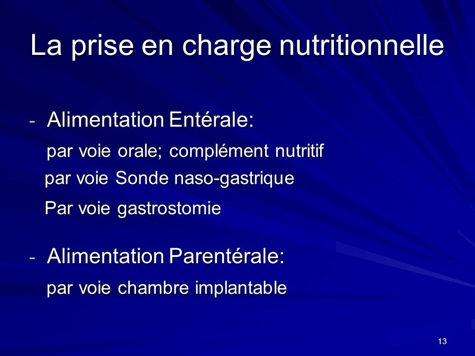 13 La prise en charge nutritionnelle - Alimentation Entérale: par voie orale; complément nutritif par voie orale; complément nutritif par voie Sonde n