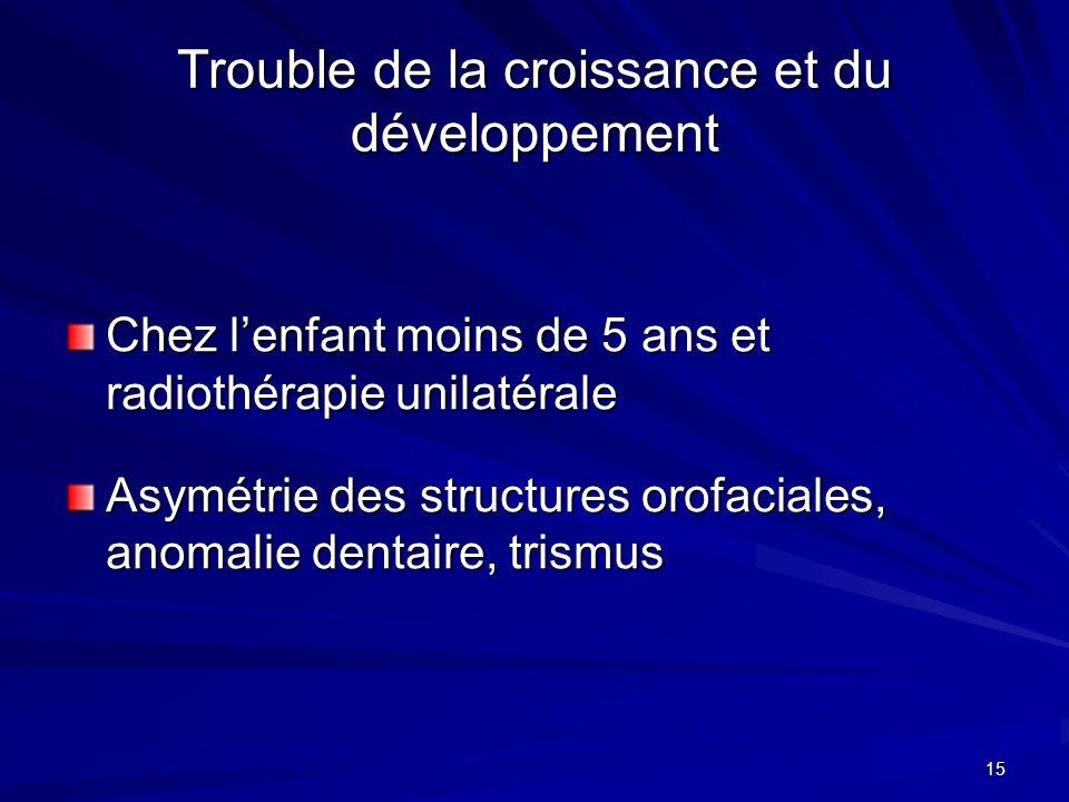 15 Trouble de la croissance et du développement Chez lenfant moins de 5 ans et radiothérapie unilatérale Asymétrie des structures orofaciales, anomali
