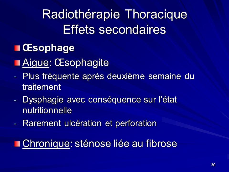 30 Radiothérapie Thoracique Effets secondaires Œsophage Aigue: Œsophagite - Plus fréquente après deuxième semaine du traitement - Dysphagie avec consé