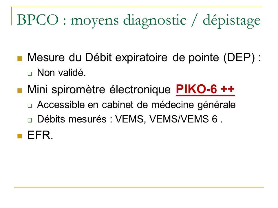 BPCO : moyens diagnostic / dépistage Mesure du Débit expiratoire de pointe (DEP) : Non validé. Mini spiromètre électronique PIKO-6 ++ Accessible en ca