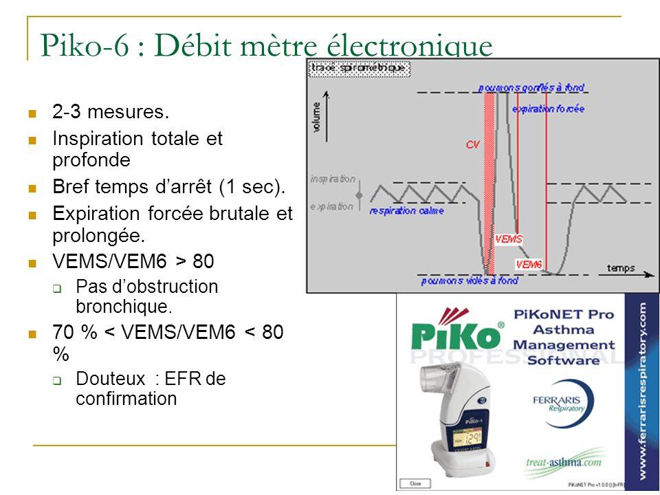 Piko-6 : Débit mètre électronique 2-3 mesures. Inspiration totale et profonde Bref temps darrêt (1 sec). Expiration forcée brutale et prolongée. VEMS/