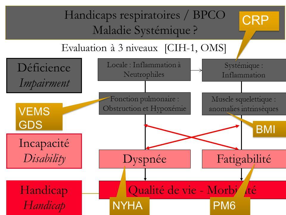 Evaluation à 3 niveaux [CIH-1, OMS] Handicaps respiratoires / BPCO Maladie Systémique ? Handicap Qualité de vie - Morbidité Systémique : Inflammation