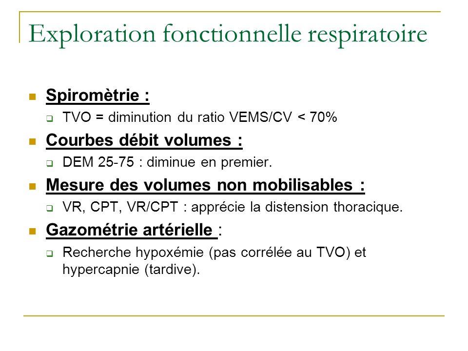 Exploration fonctionnelle respiratoire Spiromètrie : TVO = diminution du ratio VEMS/CV < 70% Courbes débit volumes : DEM 25-75 : diminue en premier. M