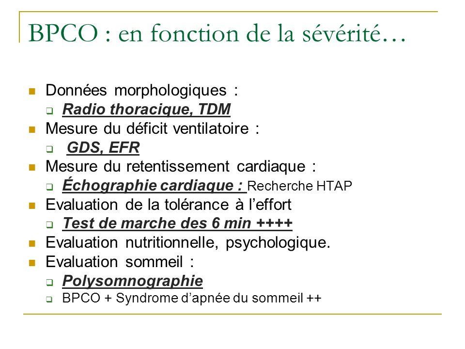 BPCO : en fonction de la sévérité… Données morphologiques : Radio thoracique, TDM Mesure du déficit ventilatoire : GDS, EFR Mesure du retentissement c