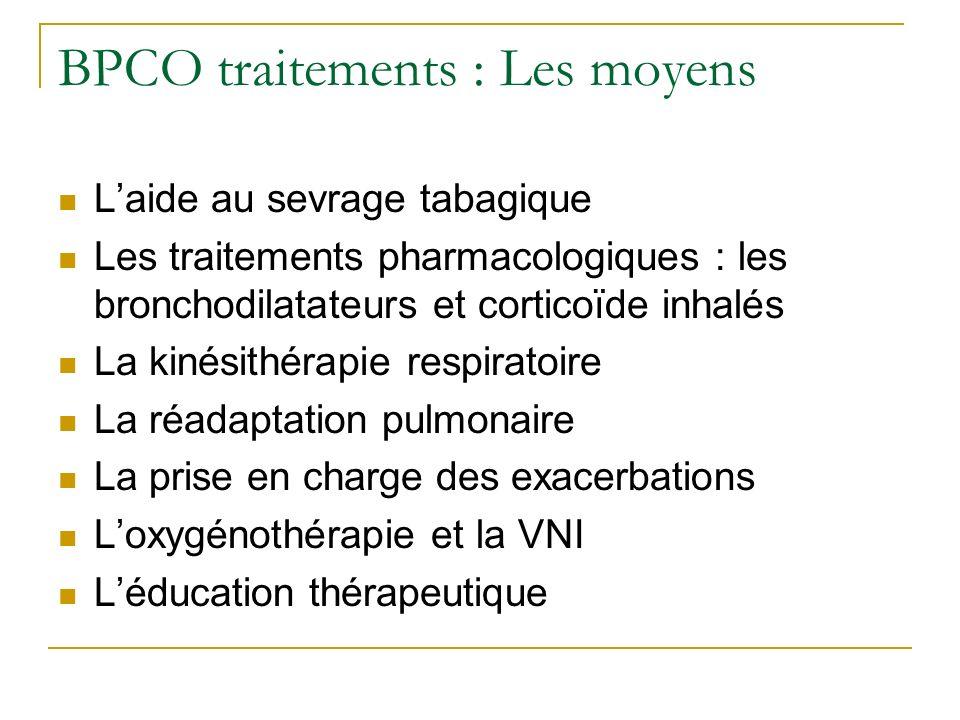 BPCO traitements : Les moyens Laide au sevrage tabagique Les traitements pharmacologiques : les bronchodilatateurs et corticoïde inhalés La kinésithér