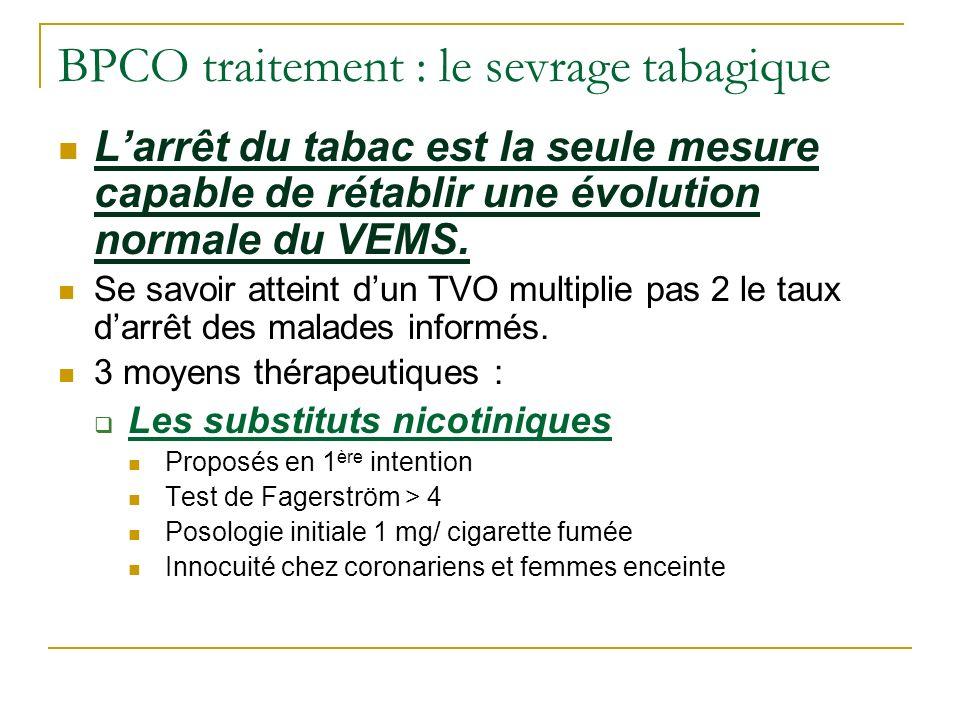 BPCO traitement : le sevrage tabagique Larrêt du tabac est la seule mesure capable de rétablir une évolution normale du VEMS. Se savoir atteint dun TV
