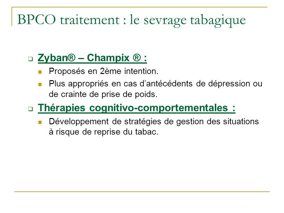 BPCO traitement : le sevrage tabagique Zyban® – Champix ® : Proposés en 2ème intention. Plus appropriés en cas dantécédents de dépression ou de craint