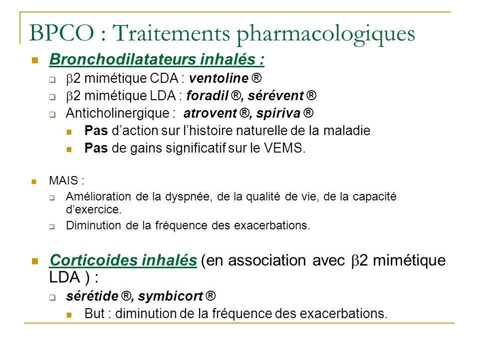 BPCO : Traitements pharmacologiques Bronchodilatateurs inhalés : 2 mimétique CDA : ventoline ® 2 mimétique LDA : foradil ®, sérévent ® Anticholinergiq