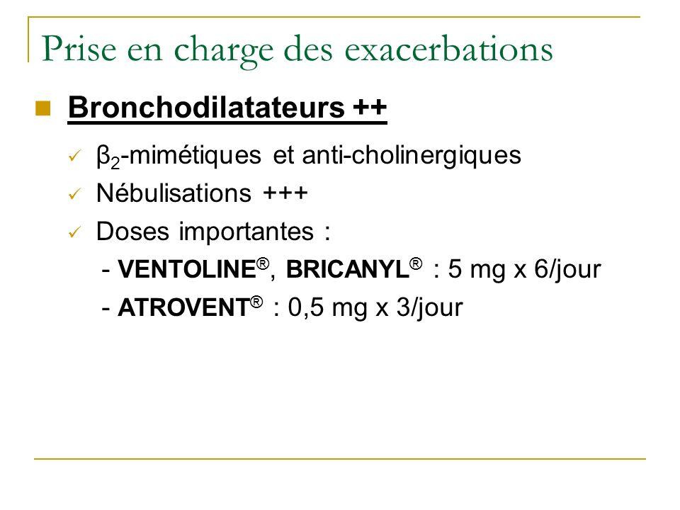 Prise en charge des exacerbations Bronchodilatateurs ++ β 2 -mimétiques et anti-cholinergiques Nébulisations +++ Doses importantes : - VENTOLINE ®, BR