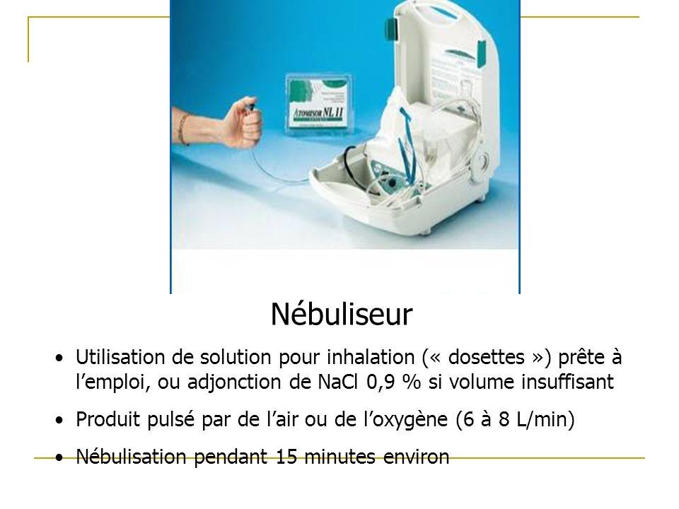 Nébuliseur Utilisation de solution pour inhalation (« dosettes ») prête à lemploi, ou adjonction de NaCl 0,9 % si volume insuffisant Produit pulsé par