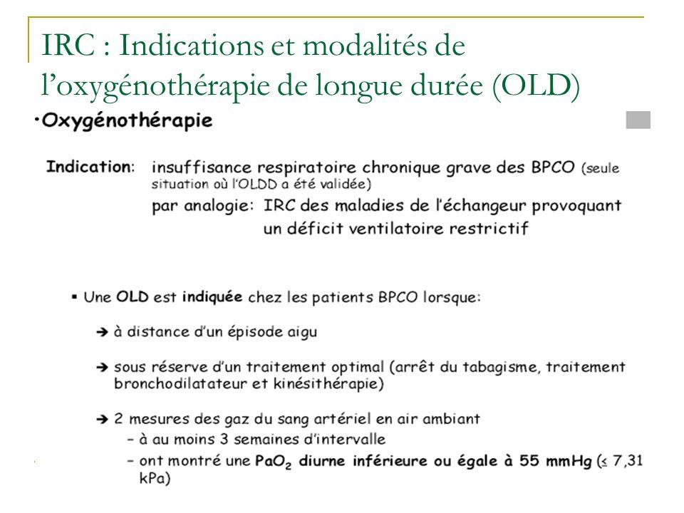 IRC : Indications et modalités de loxygénothérapie de longue durée (OLD)