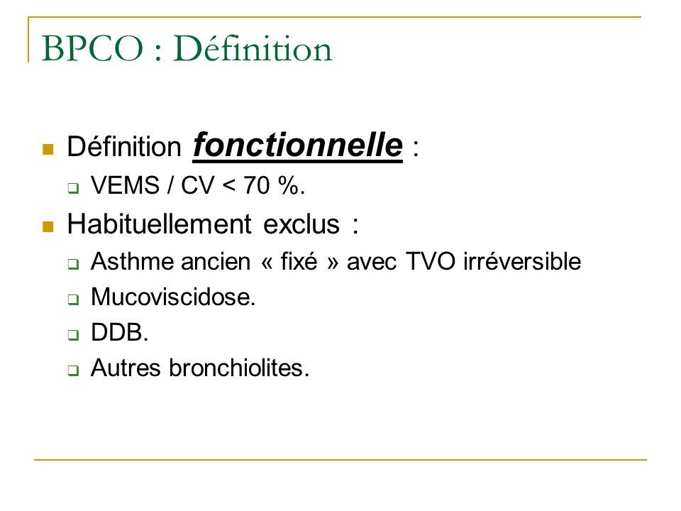 BPCO : Définition Définition fonctionnelle : VEMS / CV < 70 %. Habituellement exclus : Asthme ancien « fixé » avec TVO irréversible Mucoviscidose. DDB