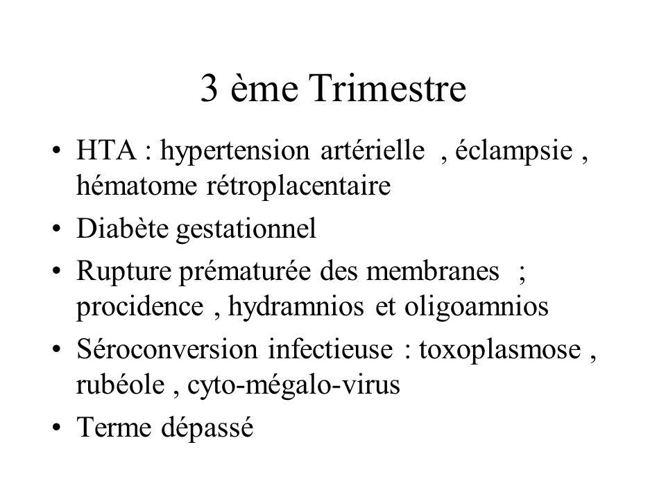 3 ème Trimestre HTA : hypertension artérielle, éclampsie, hématome rétroplacentaire Diabète gestationnel Rupture prématurée des membranes ; procidence