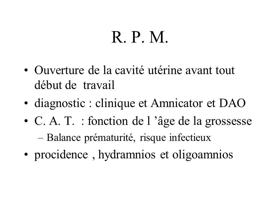 R. P. M. Ouverture de la cavité utérine avant tout début de travail diagnostic : clinique et Amnicator et DAO C. A. T. : fonction de l âge de la gross