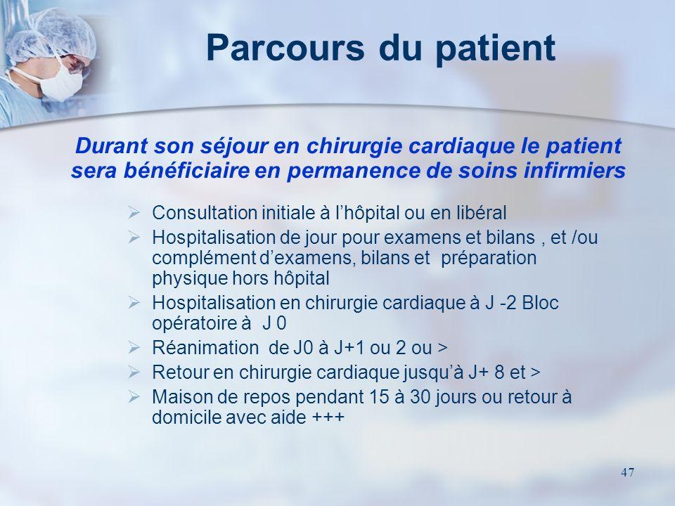 46 Le patient de chirurgie cardiaque 75 % des patients viennent pour une chirurgie réglée Par ordre de fréquence: Chirurgie coronarienne Chirurgie val