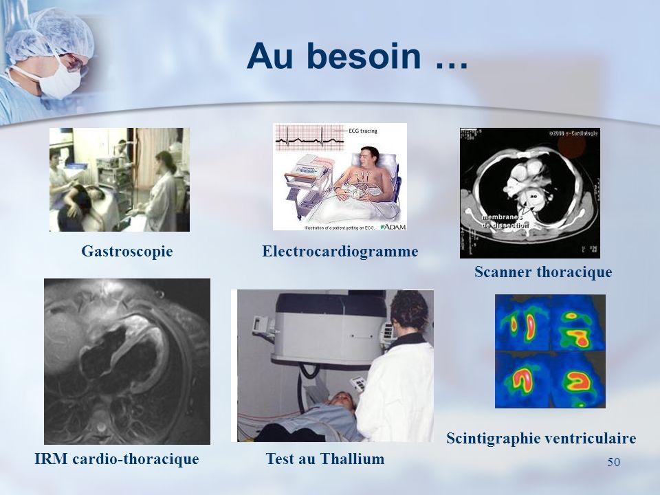 49 Quelques examens… Electrocardiogramme deffort Echographie - Doppler Coronarographie