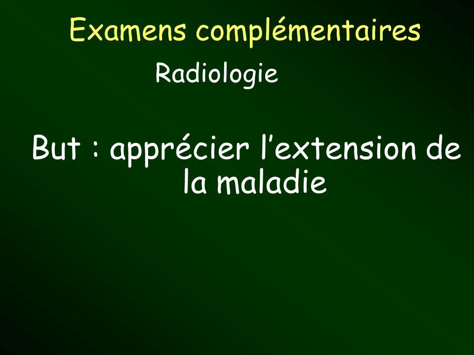 Examens complémentaires But : apprécier lextension de la maladie Radiologie
