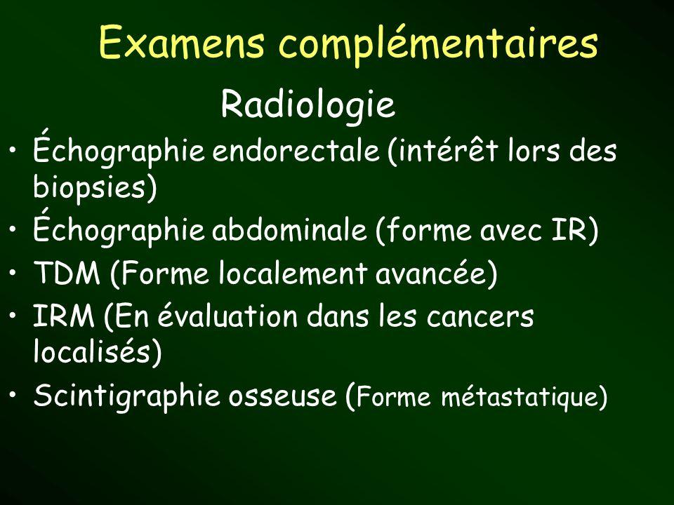 Examens complémentaires Échographie endorectale (intérêt lors des biopsies) Échographie abdominale (forme avec IR) TDM (Forme localement avancée) IRM