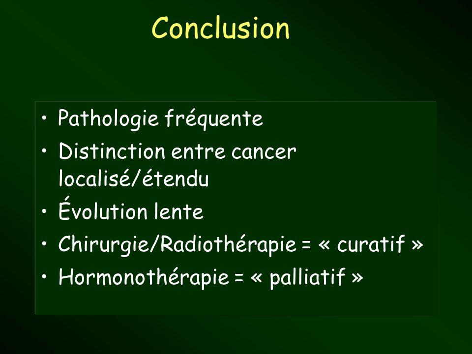 Pathologie fréquente Distinction entre cancer localisé/étendu Évolution lente Chirurgie/Radiothérapie = « curatif » Hormonothérapie = « palliatif » Co