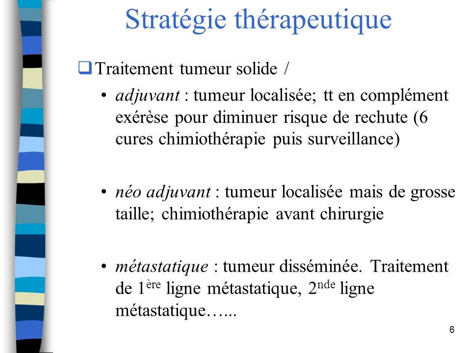 7 Stratégie thérapeutique Tumeurs hématologiques : -lymphome, choix traitement fonction type lymphome, bilan extension et facteurs de risque (1 ère ligne de traitement, 2 nde ligne…) -myélome (1 ère ligne de traitement, 2 nde ligne..) -leucémie type de la lignée hématopoïétique (lymphoïde, myéloïde…) ainsi que la forme aiguë ou chronique de la maladie