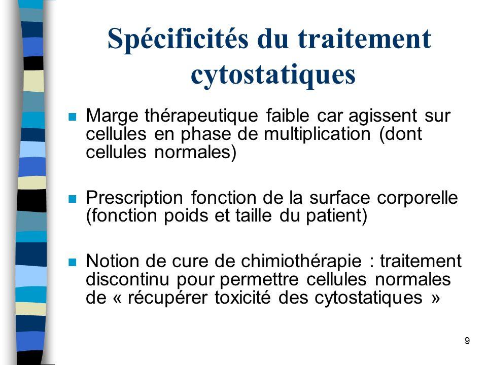 10 Cancer du sein, traitement adjuvant n Protocole « TAC » n J1 –Taxotère° (docétaxel), 75mg/m2 (poison du fuseau) –adriamycine (doxorubicine°), 50mg/m2 (intercalant) –Endoxan° (cyclophosphamide), 500mg/m2 (alkylant) n Fréquence : toutes les 3 semaines, 6cures (J1=21) n Intercure permet récupération cellules normales