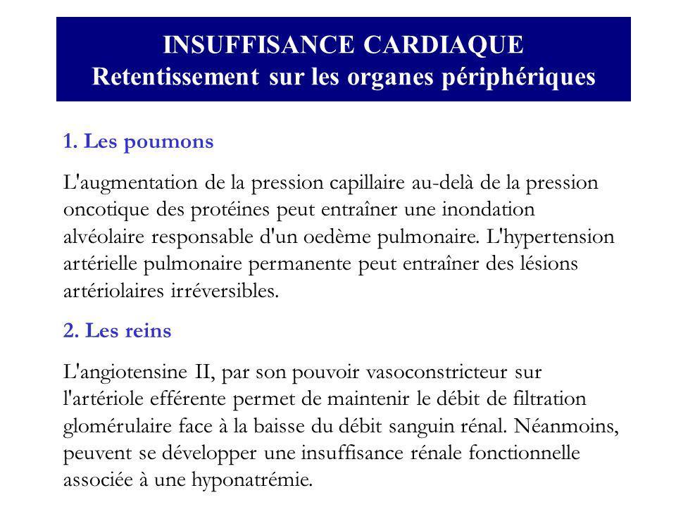1. Les poumons L'augmentation de la pression capillaire au-delà de la pression oncotique des protéines peut entraîner une inondation alvéolaire respon