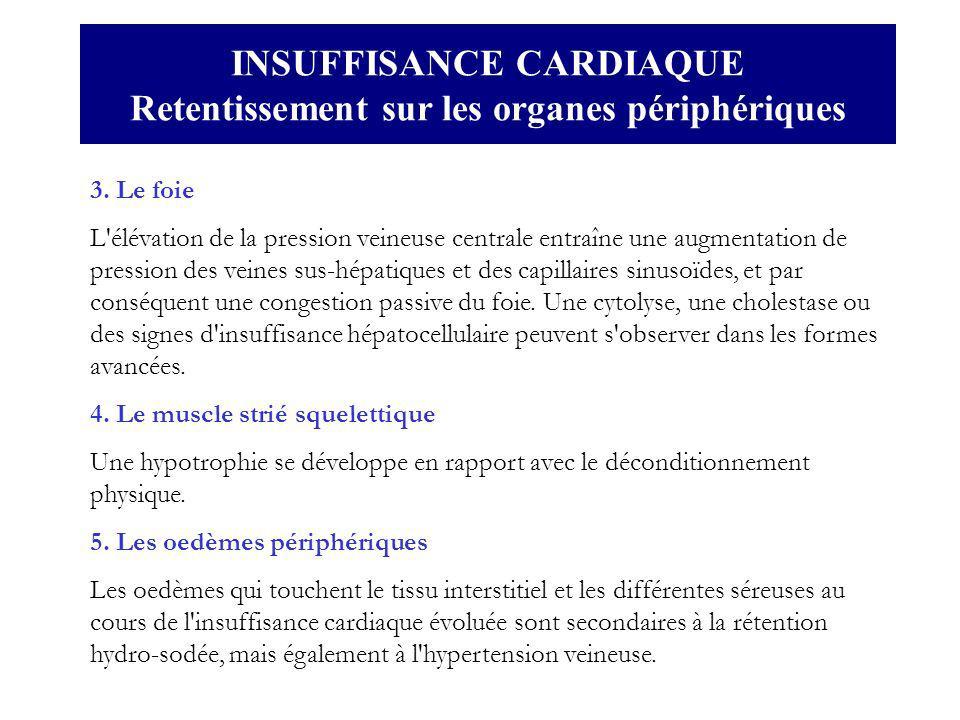 3. Le foie L'élévation de la pression veineuse centrale entraîne une augmentation de pression des veines sus-hépatiques et des capillaires sinusoïdes,