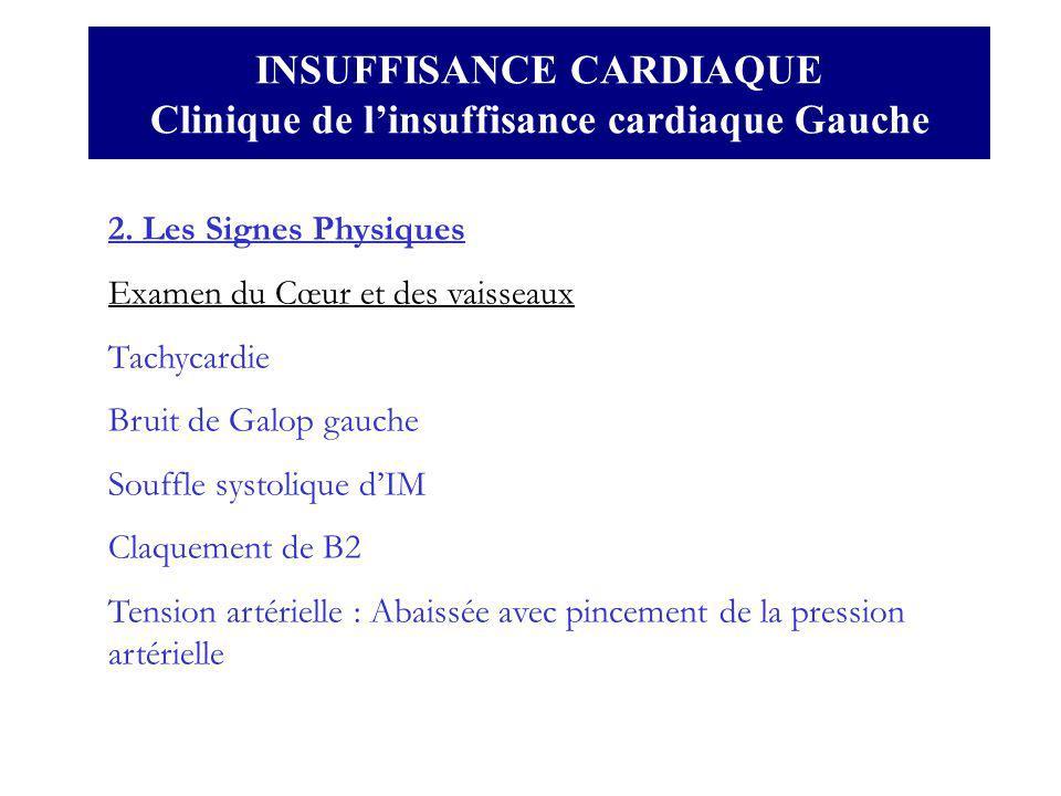 INSUFFISANCE CARDIAQUE Clinique de linsuffisance cardiaque Gauche 2. Les Signes Physiques Examen du Cœur et des vaisseaux Tachycardie Bruit de Galop g