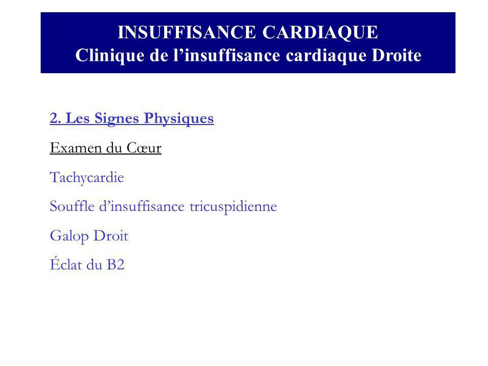 2. Les Signes Physiques Examen du Cœur Tachycardie Souffle dinsuffisance tricuspidienne Galop Droit Éclat du B2 INSUFFISANCE CARDIAQUE Clinique de lin