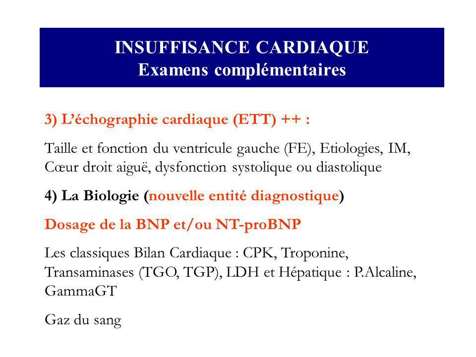 INSUFFISANCE CARDIAQUE Examens complémentaires 3) Léchographie cardiaque (ETT) ++ : Taille et fonction du ventricule gauche (FE), Etiologies, IM, Cœur