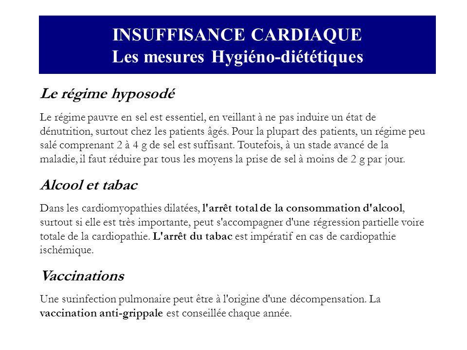 INSUFFISANCE CARDIAQUE Les mesures Hygiéno-diététiques Le régime hyposodé Le régime pauvre en sel est essentiel, en veillant à ne pas induire un état