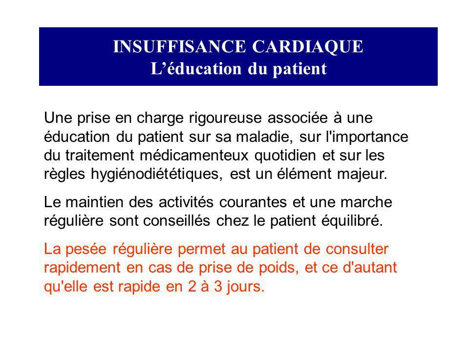 INSUFFISANCE CARDIAQUE Léducation du patient Une prise en charge rigoureuse associée à une éducation du patient sur sa maladie, sur l'importance du tr