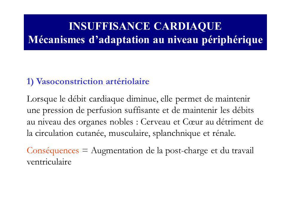 INSUFFISANCE CARDIAQUE Mécanismes dadaptation au niveau périphérique 1) Vasoconstriction artériolaire Lorsque le débit cardiaque diminue, elle permet