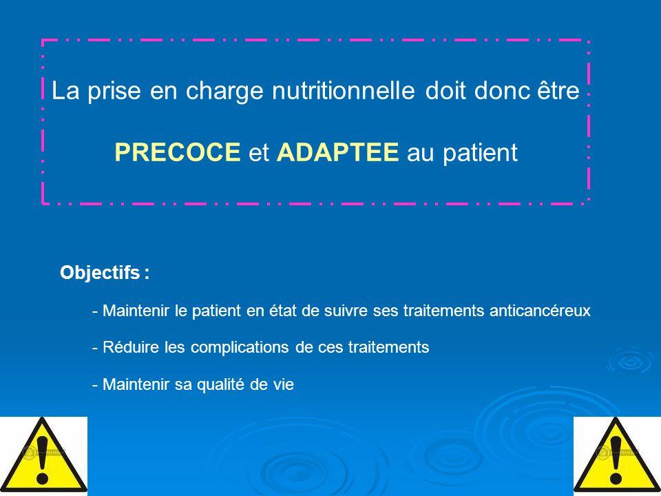 La prise en charge nutritionnelle doit donc être PRECOCE et ADAPTEE au patient Objectifs : - Maintenir le patient en état de suivre ses traitements an