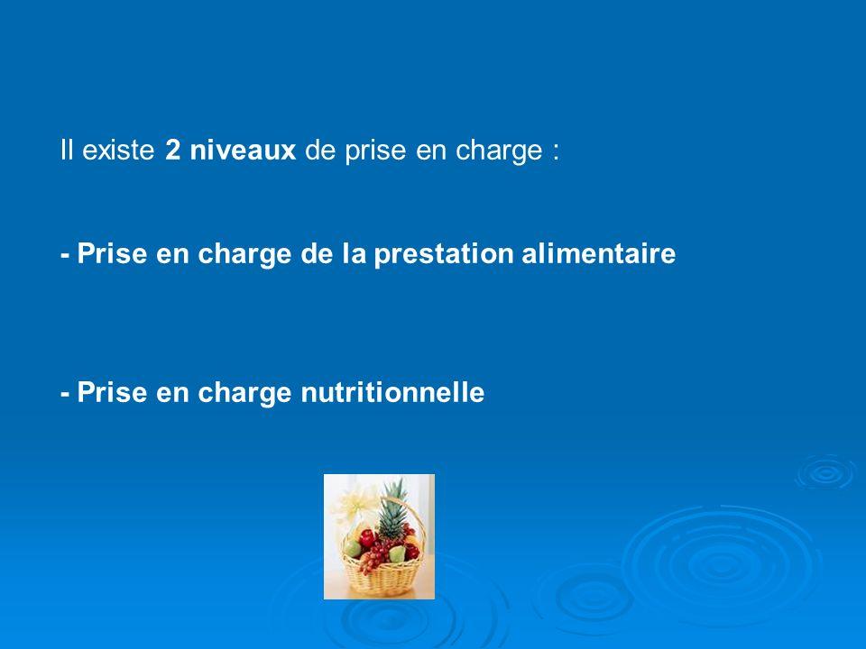 Il existe 2 niveaux de prise en charge : - Prise en charge de la prestation alimentaire - Prise en charge nutritionnelle