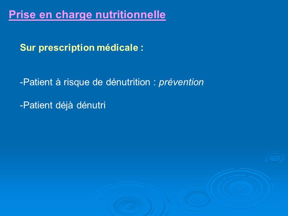 Prise en charge nutritionnelle Sur prescription médicale : -Patient à risque de dénutrition : prévention -Patient déjà dénutri