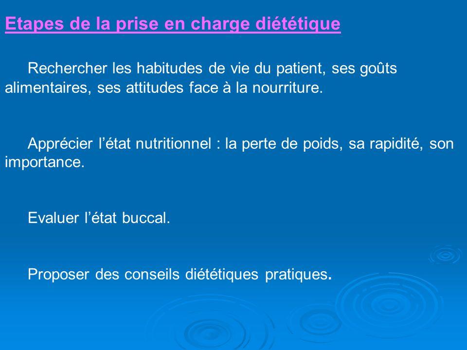 Etapes de la prise en charge diététique Rechercher les habitudes de vie du patient, ses goûts alimentaires, ses attitudes face à la nourriture. Appréc