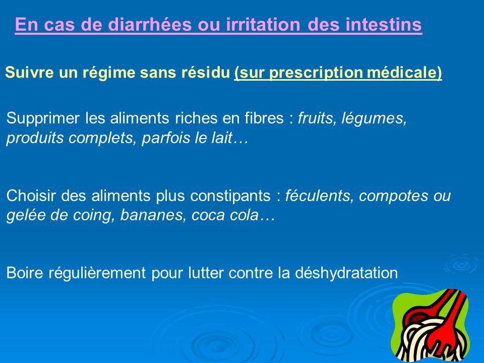 En cas de diarrhées ou irritation des intestins Suivre un régime sans résidu (sur prescription médicale) Supprimer les aliments riches en fibres : fru